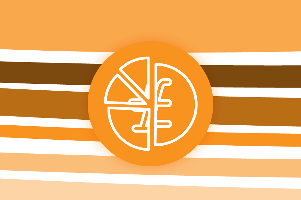 A round orange icon of a pound coin divided up into pieces against a background of horizontal stripes in various shades of orange