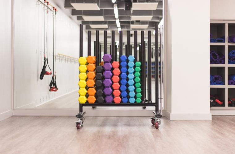 Rows of colourful dumbbells stacked together in a leisure centre