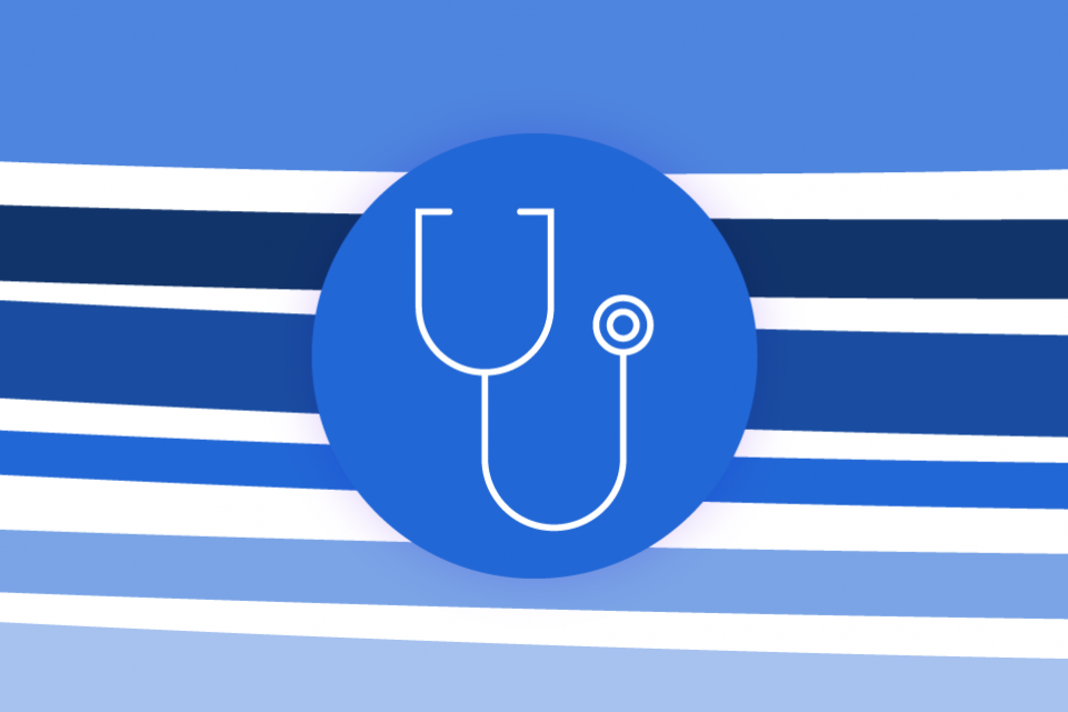 Re-thinking local: relationship with the NHS - blue stripes on a white background and a blue icon of a stethoscope