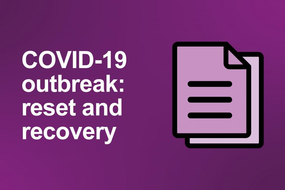 Dark purple image with the copy 'COVID-19 outbreak: reset and recovery' in white