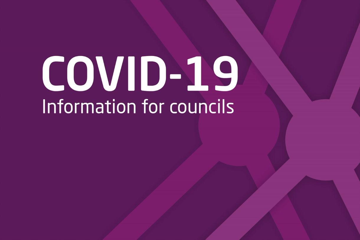 Graphic image with the text 'COVID-19: information for councils' on a purple background