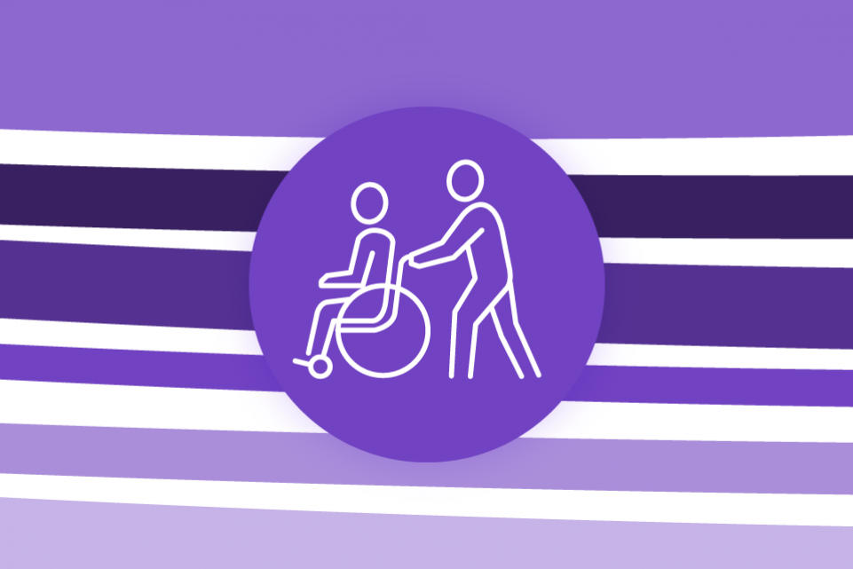 Re-thinking local: adult social care - image with purple lines on a white background and an icon of a person in a wheel chair