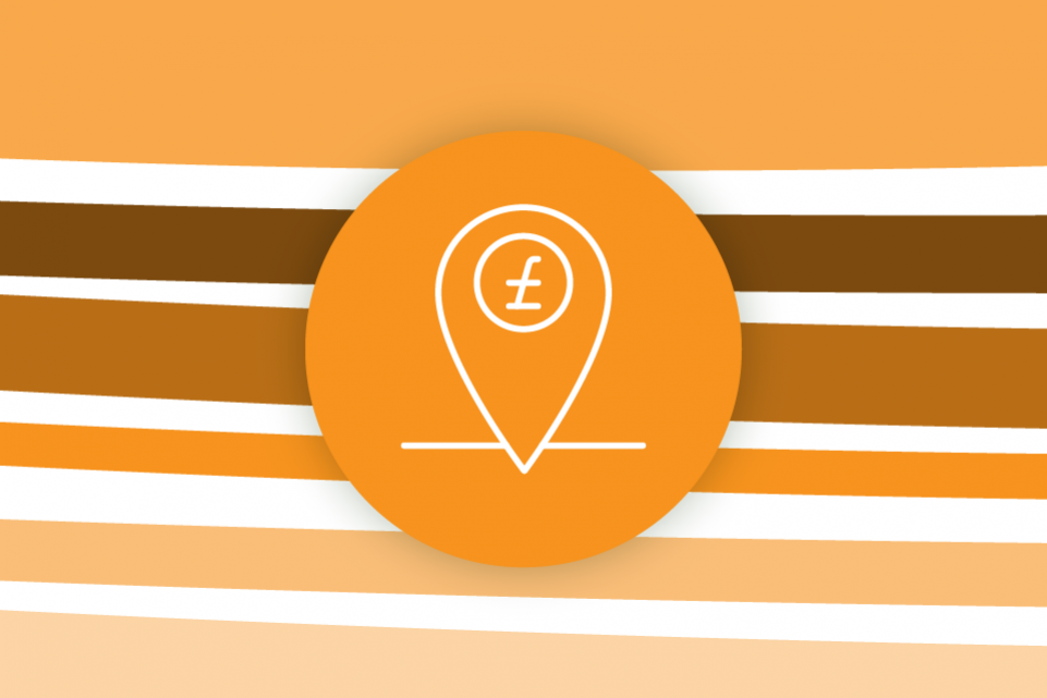 Re-thinking local: funding services and investing in communities - horizontal orange stripes with an orange icon of a location pin with a pound sign in the foreground